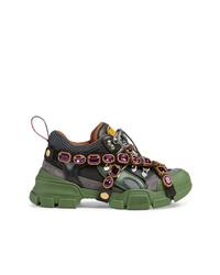 Chaussures de sport olive Gucci