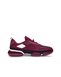 Chaussures de sport pourpre foncé Prada