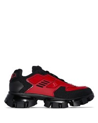 Chaussures de sport rouge et noir Prada