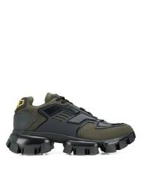 Chaussures de sport vert foncé Prada