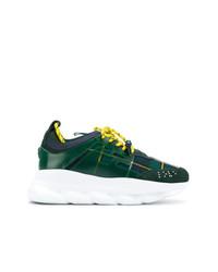 Chaussures de sport vert foncé Versace