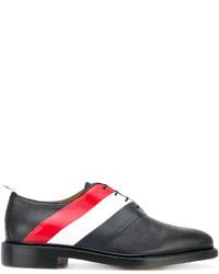 Chaussures derby en cuir à rayures horizontales noires Thom Browne
