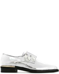 Chaussures derby en cuir argentées