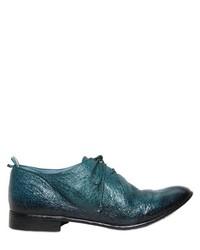 Chaussures derby en cuir bleu canard