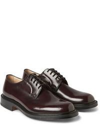 Chaussures derby en cuir bordeaux