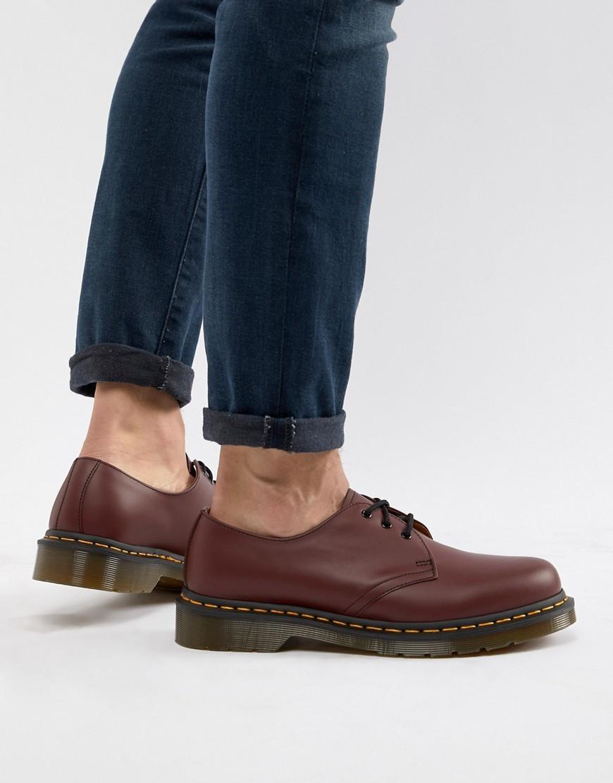 Chaussures derby en cuir bordeaux Dr. Martens