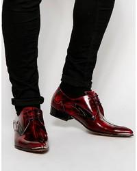 Chaussures derby en cuir bordeaux Jeffery West