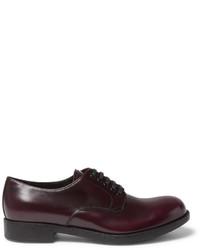 Chaussures derby en cuir bordeaux Prada