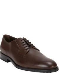 Chaussures derby en cuir brunes foncées