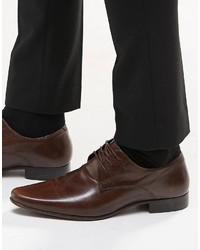 Chaussures derby en cuir brunes foncées Asos