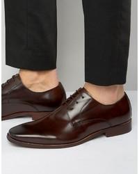Chaussures derby en cuir brunes foncées Dune