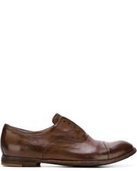 Chaussures derby en cuir brunes foncées Officine Creative
