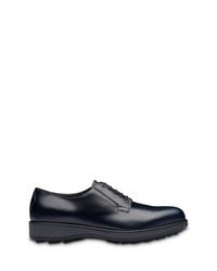 Chaussures derby en cuir épaisses bleu marine Prada