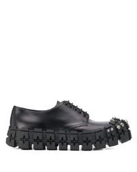 Chaussures derby en cuir épaisses noires Prada