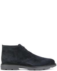 Chaussures derby en cuir gris foncé Hogan