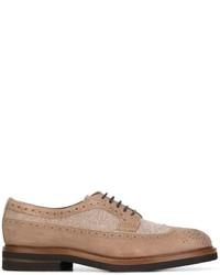 Chaussures derby en cuir marron clair Brunello Cucinelli