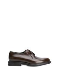 Chaussures derby en cuir marron foncé Brunello Cucinelli