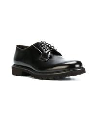 Chaussures derby en cuir marron foncé Giorgio Armani