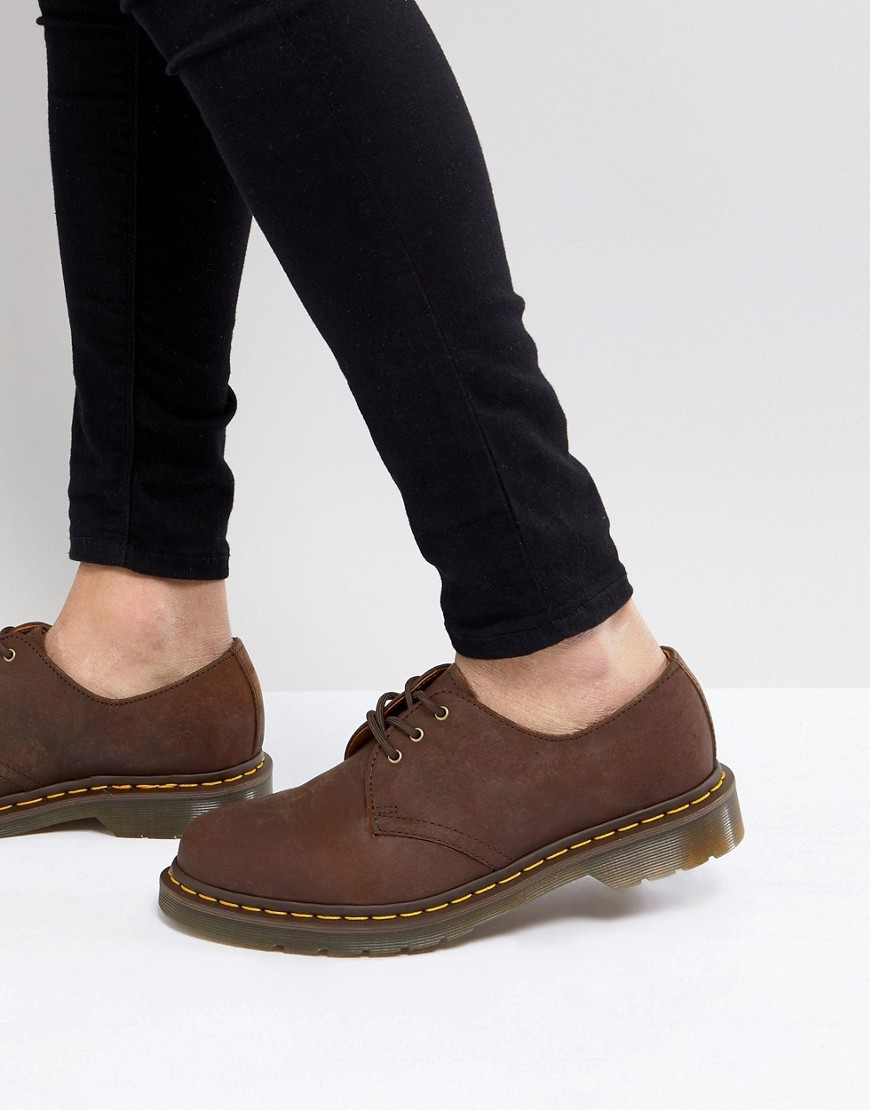 Chaussures derby en cuir marron foncé Dr. Martens