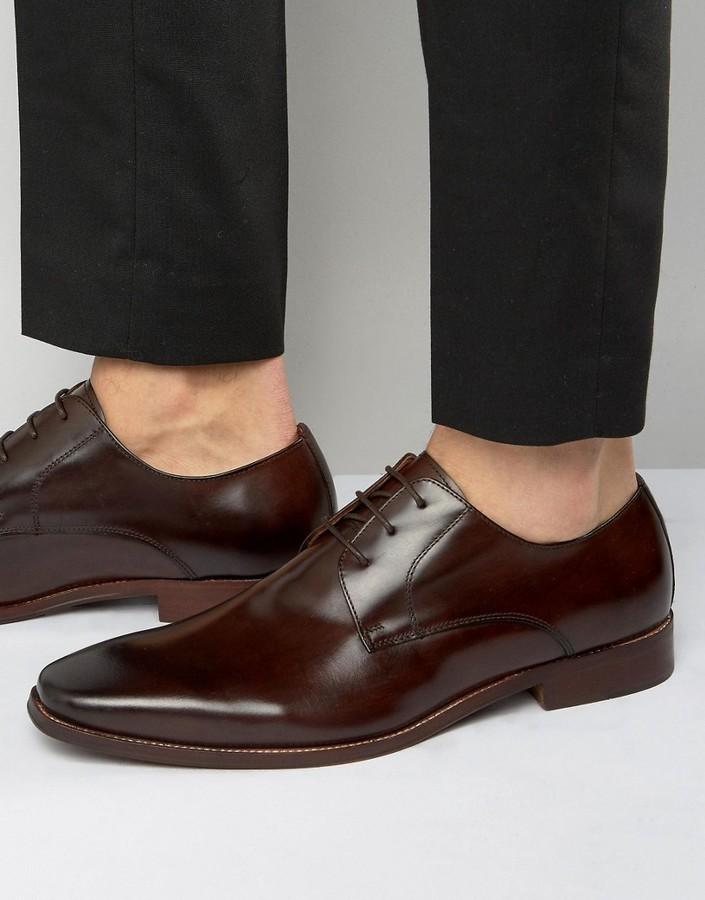 Chaussures derby en cuir marron foncé Dune