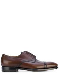Chaussures derby en cuir marron foncé Kiton