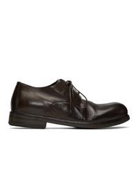 Chaussures derby en cuir marron foncé Marsèll