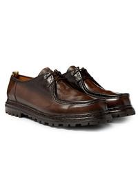 Chaussures derby en cuir marron foncé Officine Creative