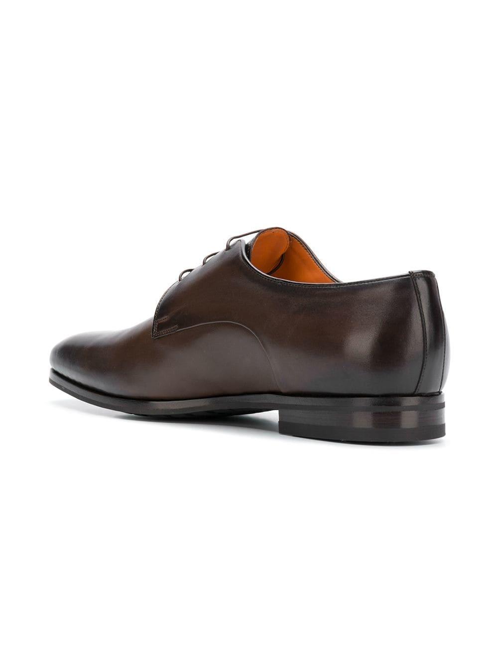 Chaussures derby en cuir marron foncé Santoni
