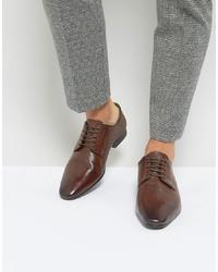 Chaussures derby en cuir marron foncé Silver Street