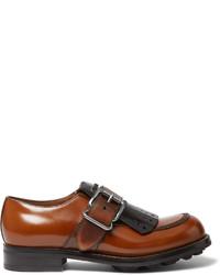 Chaussures derby en cuir marron Prada