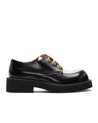 Chaussures derby en cuir noires et blanches Marni