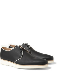 Chaussures derby en cuir noires et blanches Mr. Hare