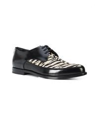Chaussures derby en cuir noires et blanches Saint Laurent
