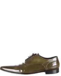 Chaussures derby en cuir olive
