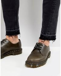 Chaussures derby en cuir olive Dr. Martens