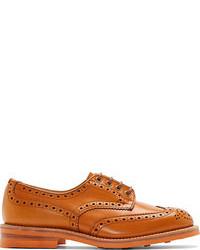 Chaussures derby en cuir orange