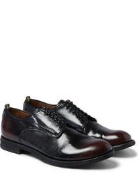 Chaussures derby en cuir pourpre foncé Officine Creative