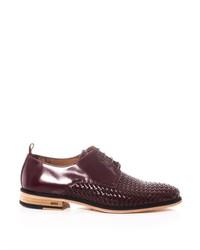 Chaussures derby en cuir tressées marron foncé