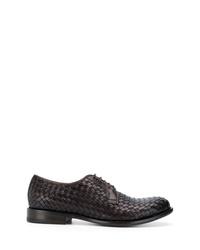Chaussures derby en cuir tressées marron foncé Tagliatore