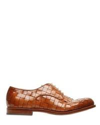 Chaussures derby en cuir tressées marron
