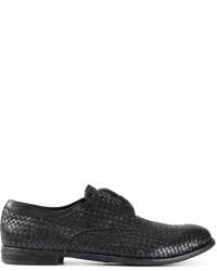 Chaussures derby en cuir tressées noires