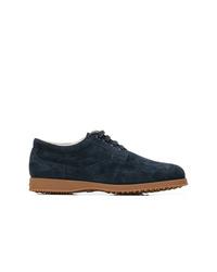 Chaussures derby en daim bleu marine Hogan