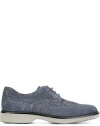 Chaussures derby en daim bleues Hogan