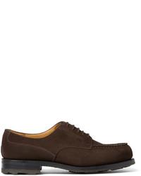 Chaussures derby en daim brunes foncées