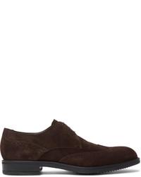 Chaussures derby en daim brunes foncées Hugo Boss