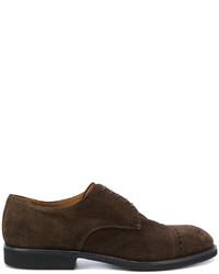 Chaussures derby en daim brunes foncées Premiata