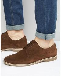 Chaussures derby en daim brunes