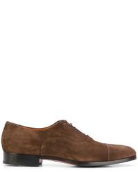 Chaussures derby en daim brunes Santoni
