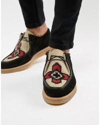 Chaussures derby en daim épaisses noires