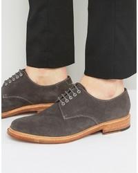 Chaussures derby en daim gris foncé Grenson